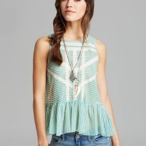 Free People Crochet Lace & Mesh Peplum Top Size XS